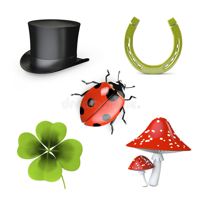 3d Collection Of Good Luck Symbols Stock Illustration Illustration