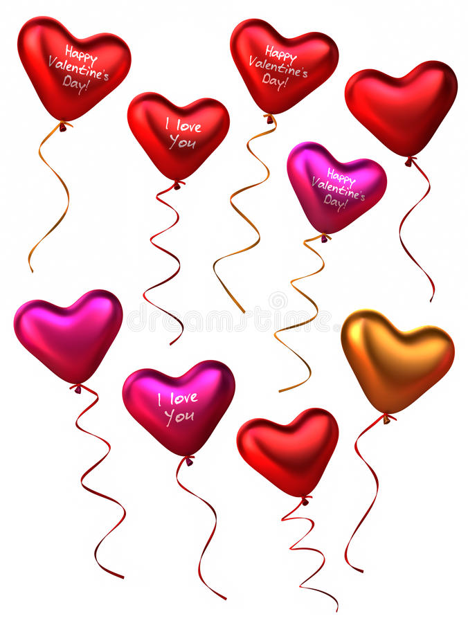 Download 3D Collection Of Heart Shape Balloons Stock Illustration - Image: 18245894