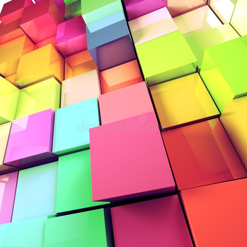 3d coloré cube le fond illustration libre de droits