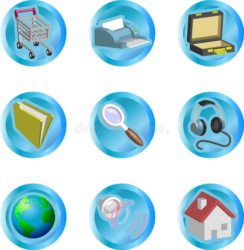 3d color web and internet icon set royalty free illustration