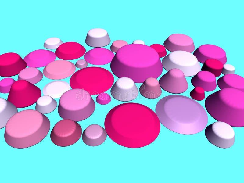 3D- Colore rosa ed azzurro illustrazione di stock