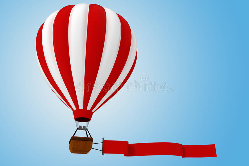 3d colorful hot air balloon stock illustration