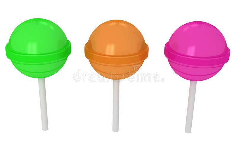 3d colorful sweet lollipops. On white background stock illustration