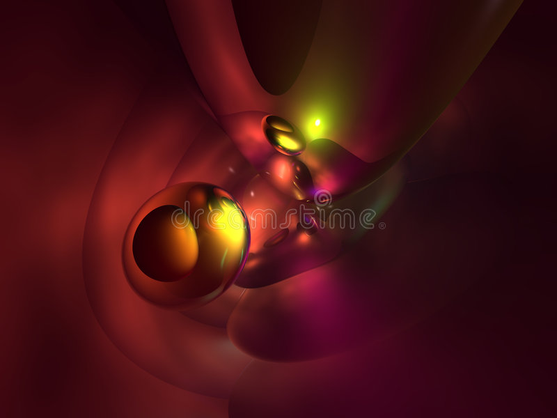 3D Colorful Yellow Red Abstract Glossy Render. Background stock illustration