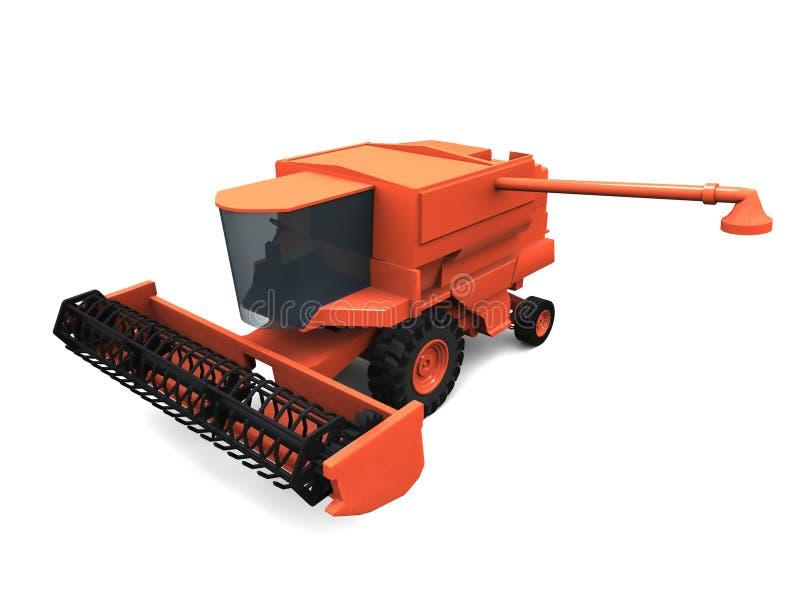 3D combine. 3D model of orange combine stock illustration