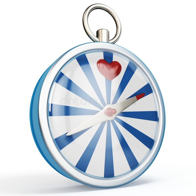 3d compass finding love vector illustration