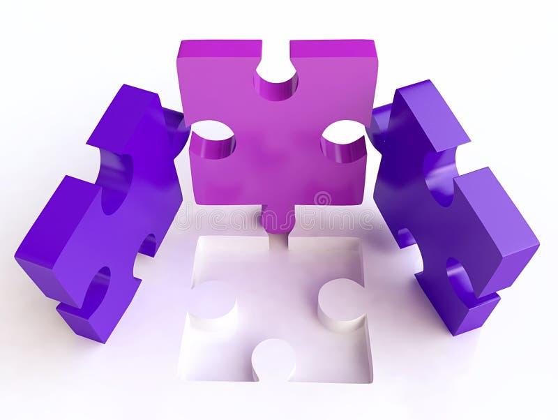 3d composition jigsaw puzzles vektor illustrationer