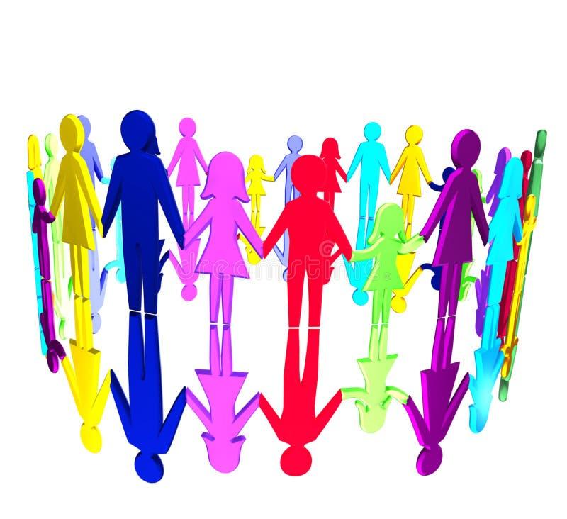 3D - Comunidad multicultural ilustración del vector