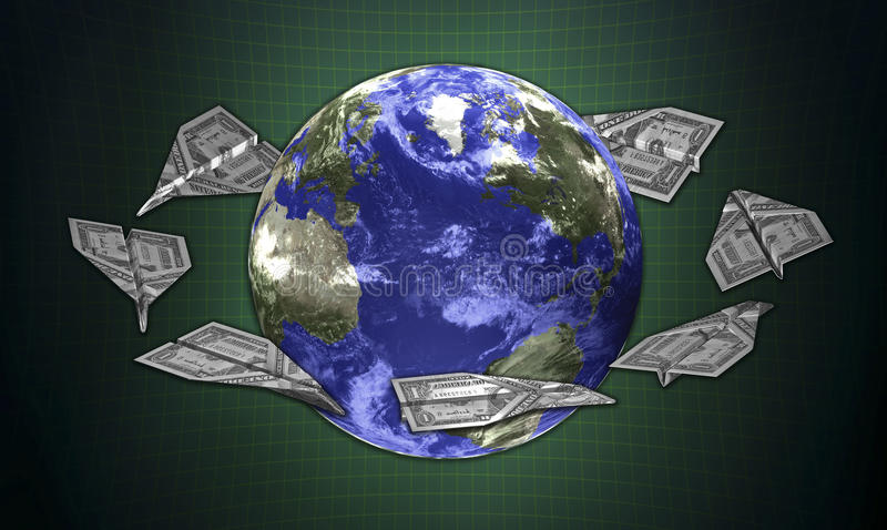 3d concept earth and the money. Planes royalty free illustration