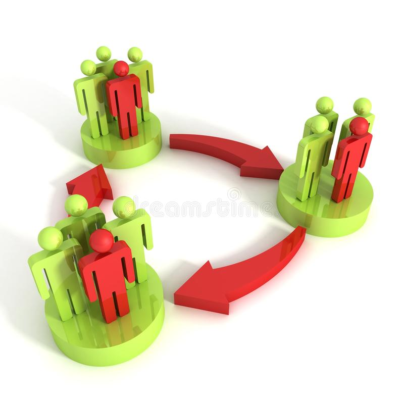 3d concept of interaction of different groups of people. 3d vector illustration