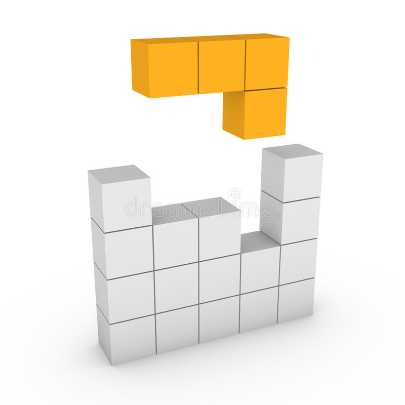 3d concept of tetris game royalty free illustration