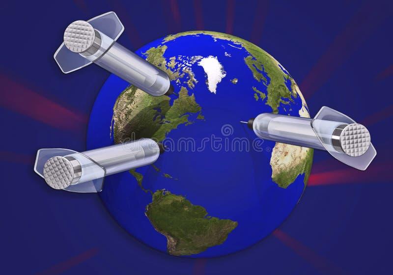 3d concept van de aarde & van de naald royalty-vrije illustratie