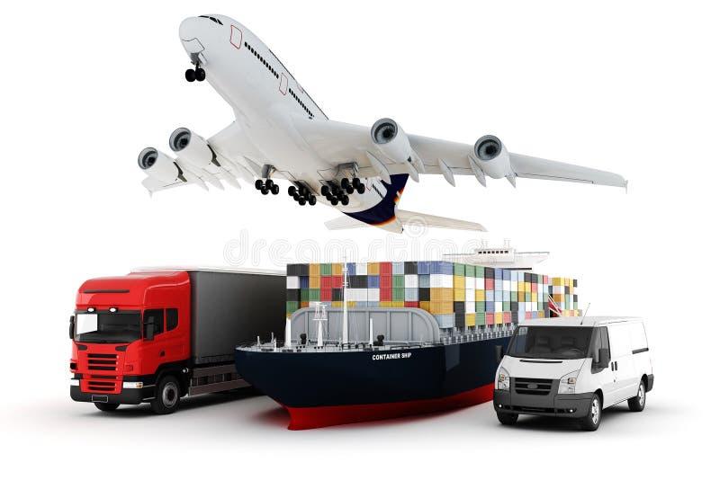 3d concept van het ladingsvervoer royalty-vrije illustratie