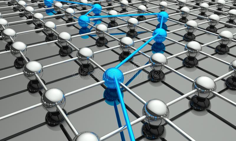 3d conceptie van netwerk en mededeling stock illustratie