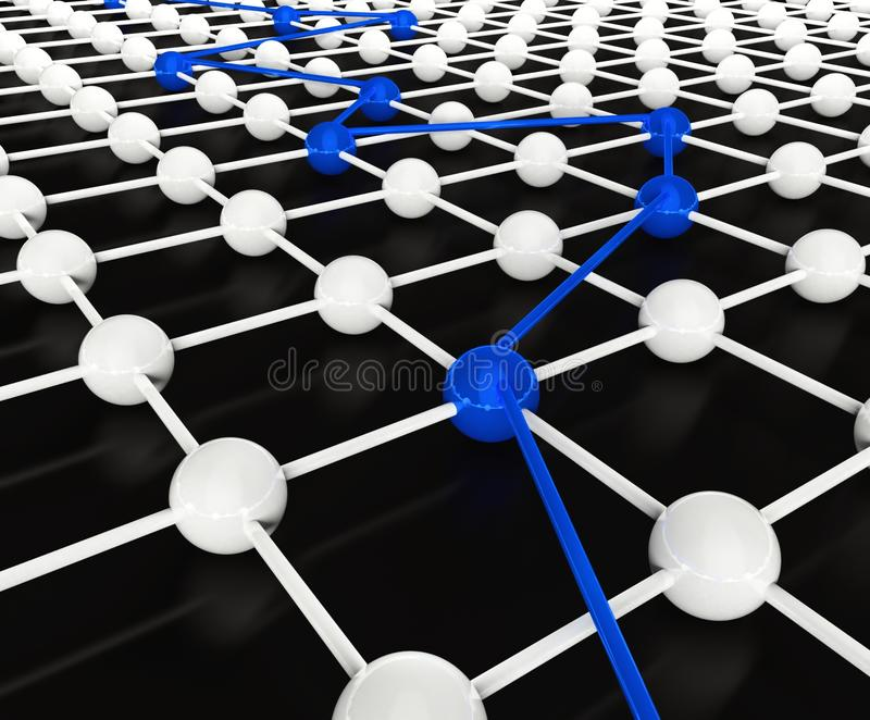 3d conceptie van netwerk en mededeling royalty-vrije illustratie