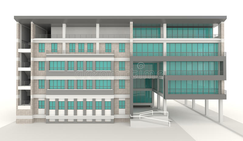 3D condominium architecture exterior design in white background. Create by 3D royalty free illustration