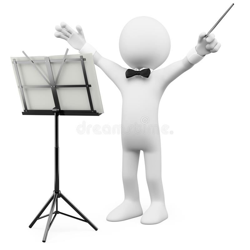 3D conductor leading the orchestra vector illustration