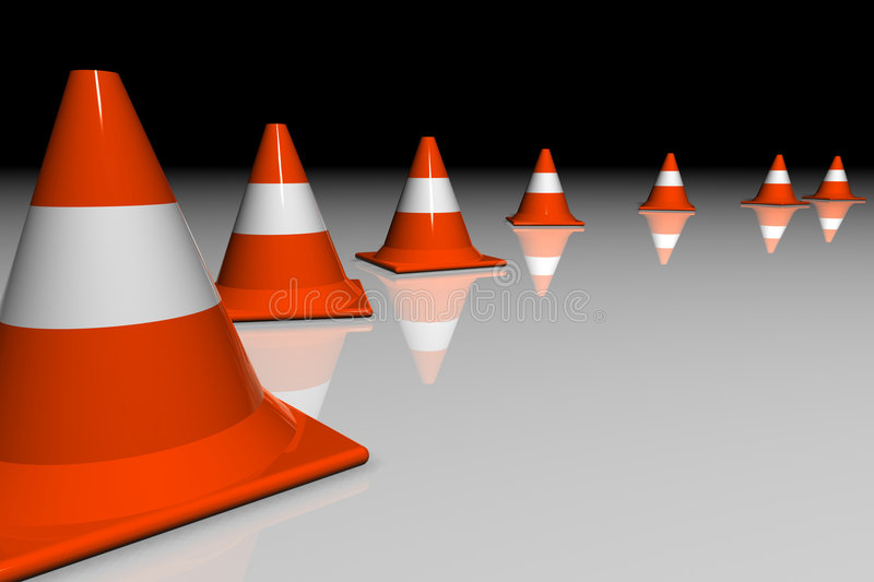 Download 3D cones stock illustration. Image of reflective, plastic - 938813