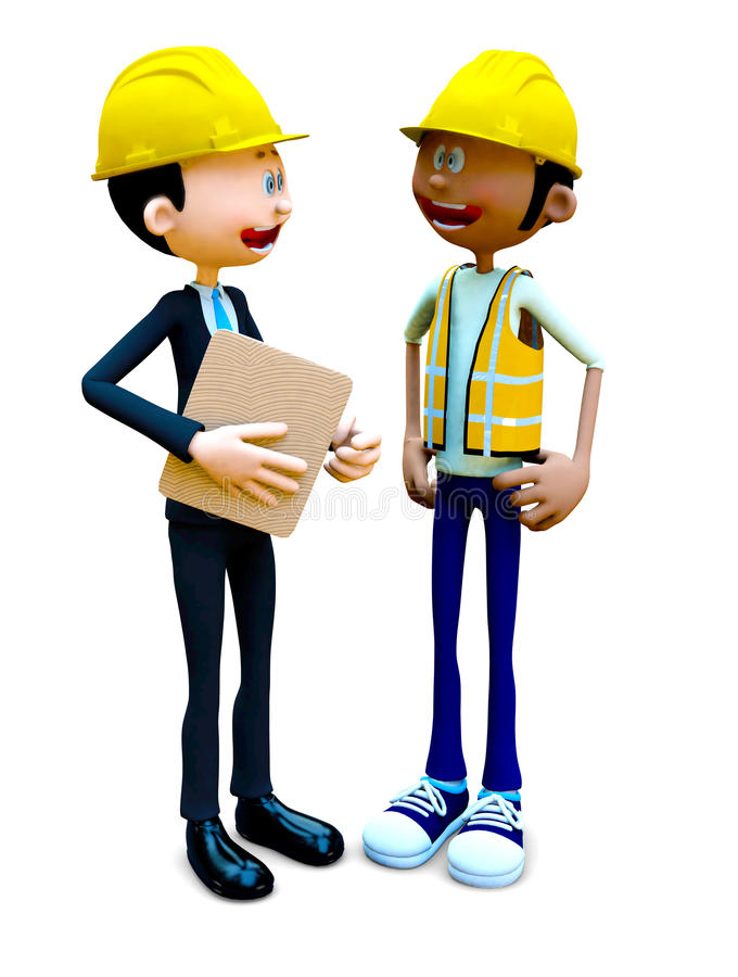 Download 3D Construction Workers Talking Stock Illustration - Illustration: 27395433