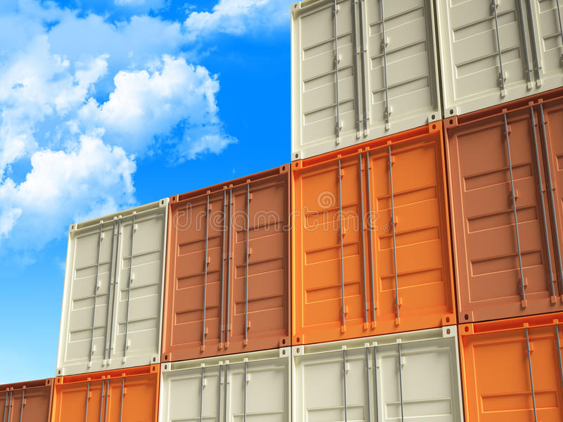 3d container en blauwe hemel stock illustratie