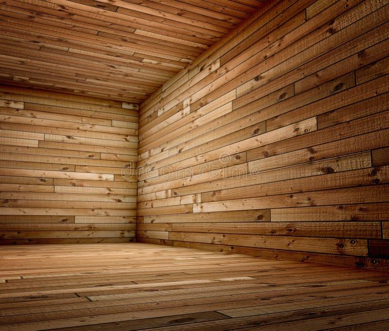 3d corner of old grunge wooden interior stock illustration