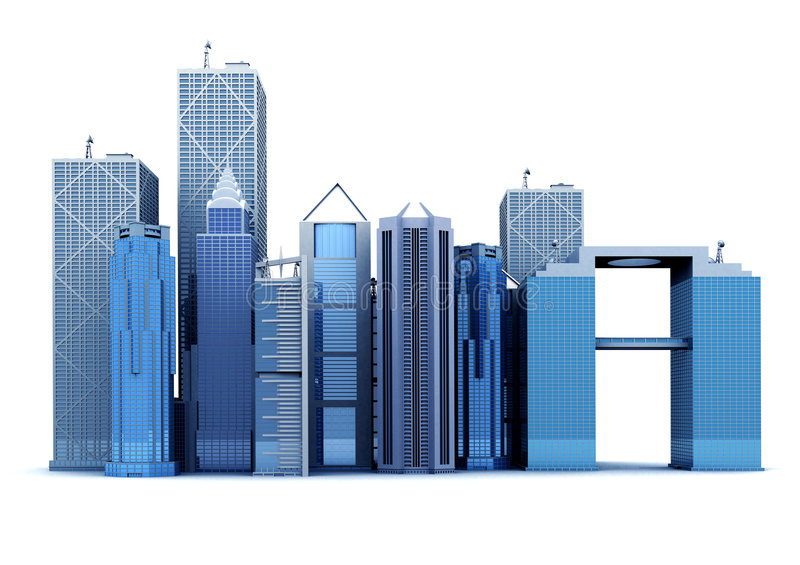 Download 3d corporate buildings stock illustration. Image of general - 1621775