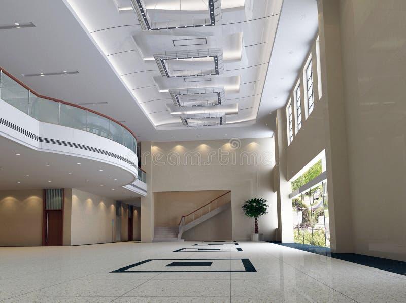 3d corridoio moderno, corridoio illustrazione vettoriale