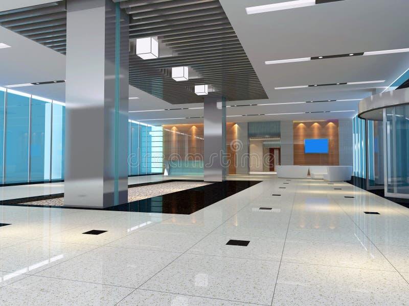 3d corridoio moderno, corridoio illustrazione di stock