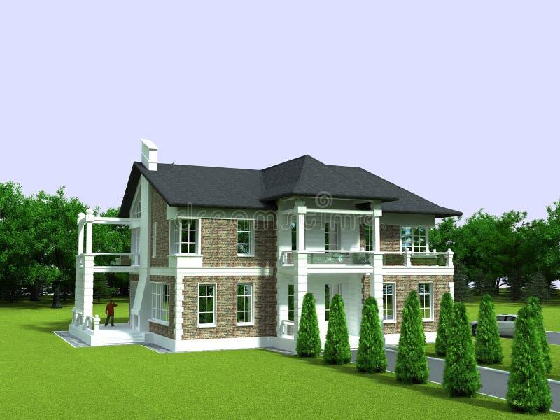 Download 3D cottage stock illustration. Illustration of windows - 13535290