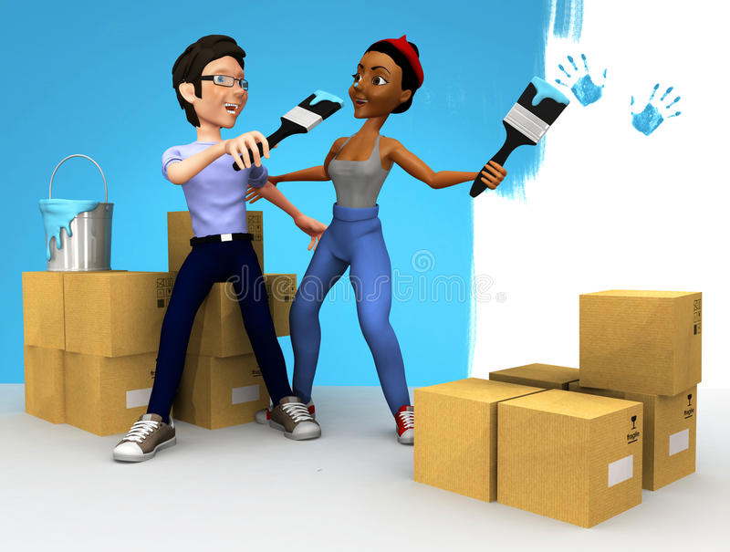 Download 3D couple painting stock illustration. Illustration of paint - 23051826