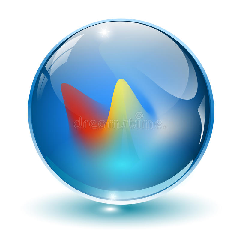 3D cristal, esfera de vidro. ilustração stock
