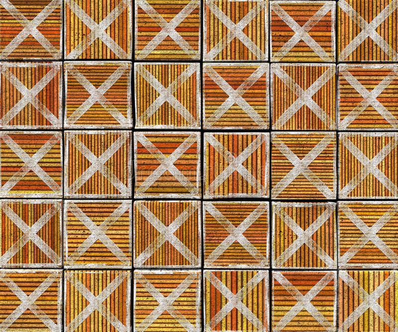 3d cross abstract striped tile backdrop. In orange brown stock image