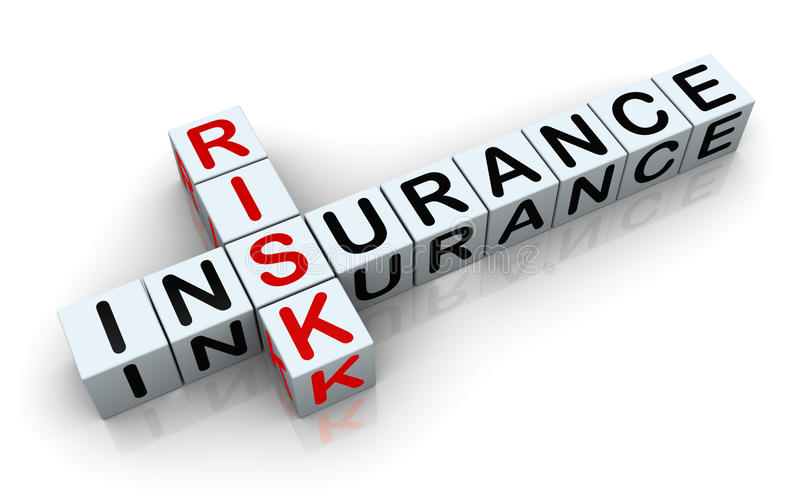 3d crossword of 'insurance risk'. 3d render of crossword text 'insurance risk