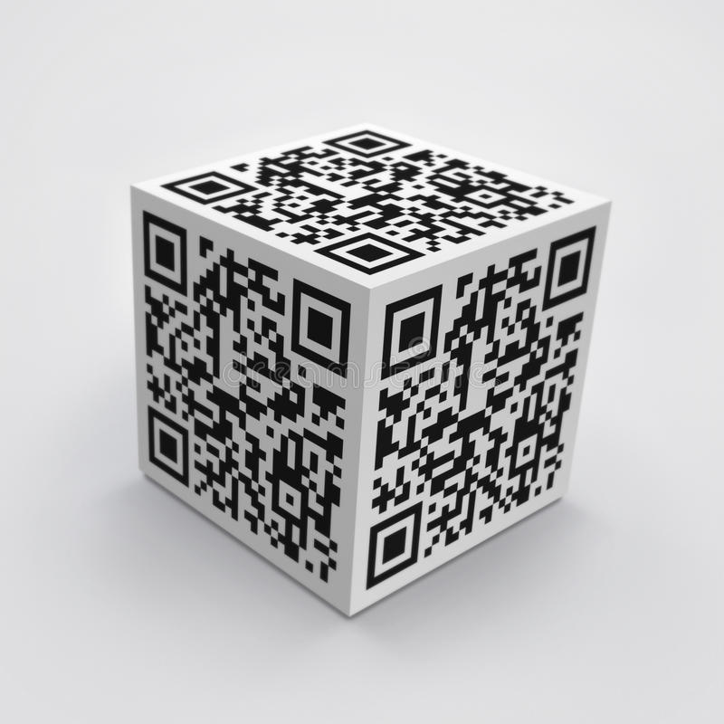 Download 3D cube with QR code stock illustration. Illustration of media - 26297758
