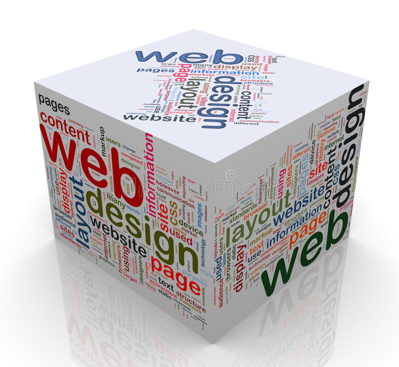 3d Cube With  Web Design  Tags Royalty Free Stock Images