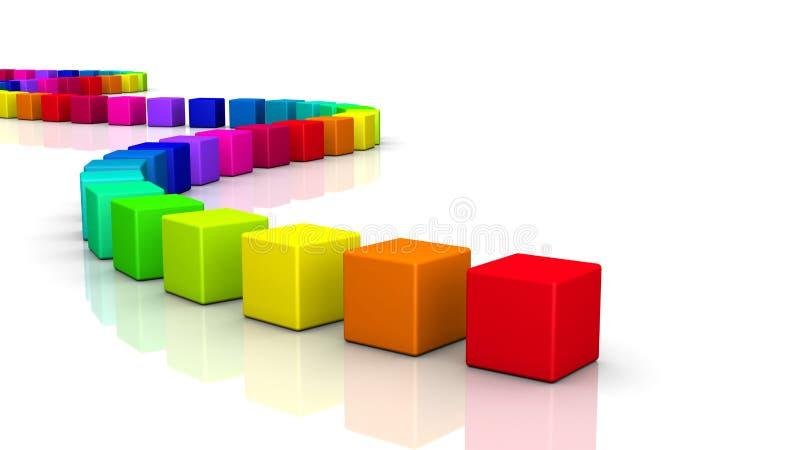 3D cubes - onde colorée 04 illustration libre de droits