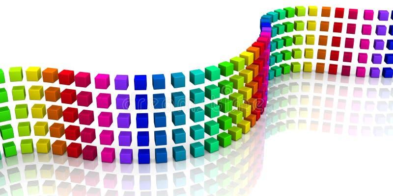 3D cubes - onde colorée 06 illustration stock