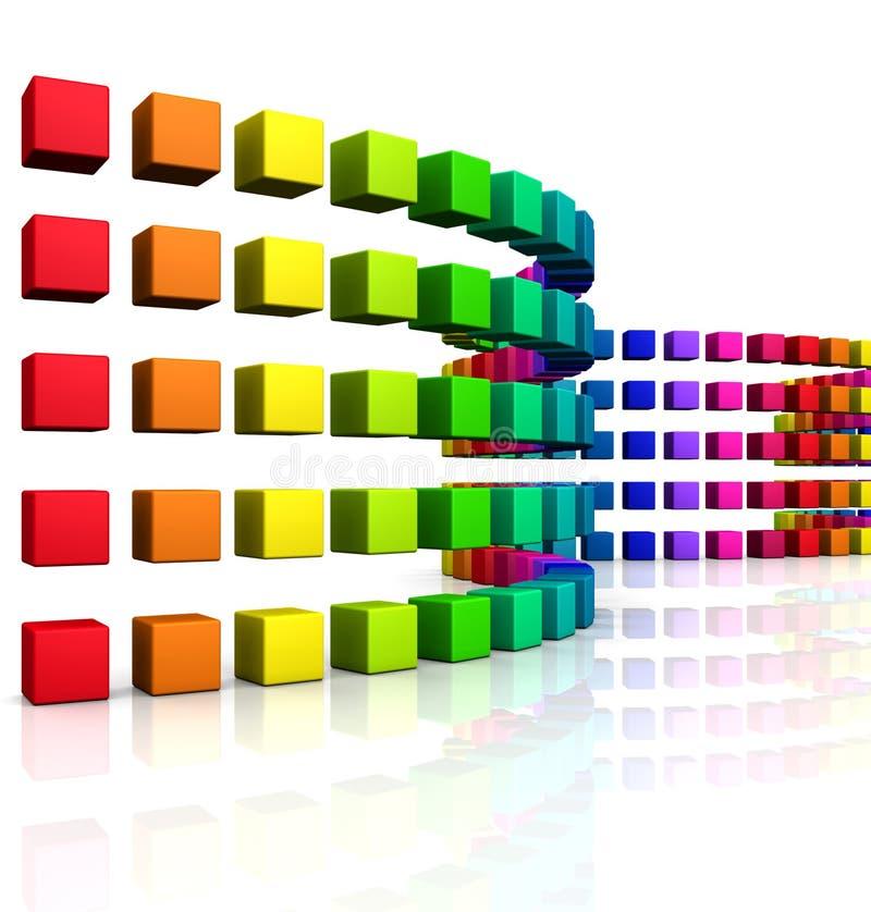 3D cubes - onde colorée 08 illustration libre de droits