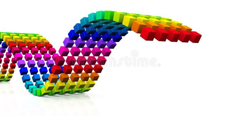 3D cubos - onda colorida 05 ilustración del vector