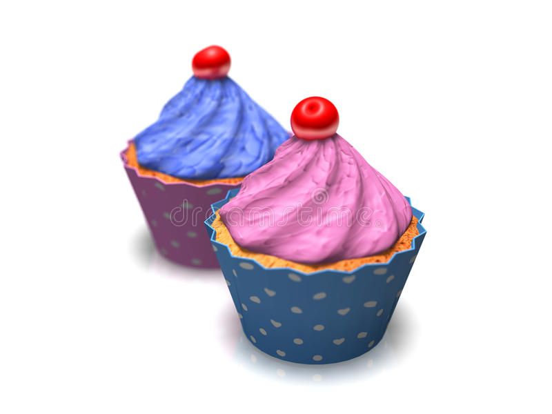 3D cup cakes against white. 3D cup cakes against a white background with shadows and depth of field vector illustration