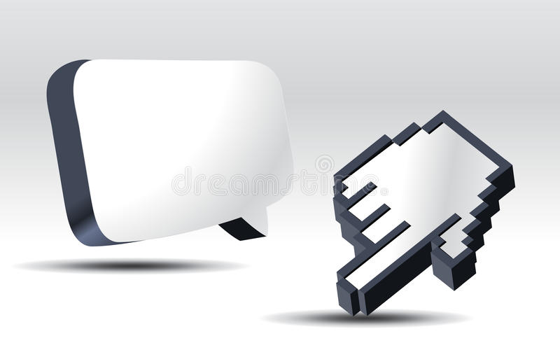 3d cursor. S and pop up balloon vector illustration