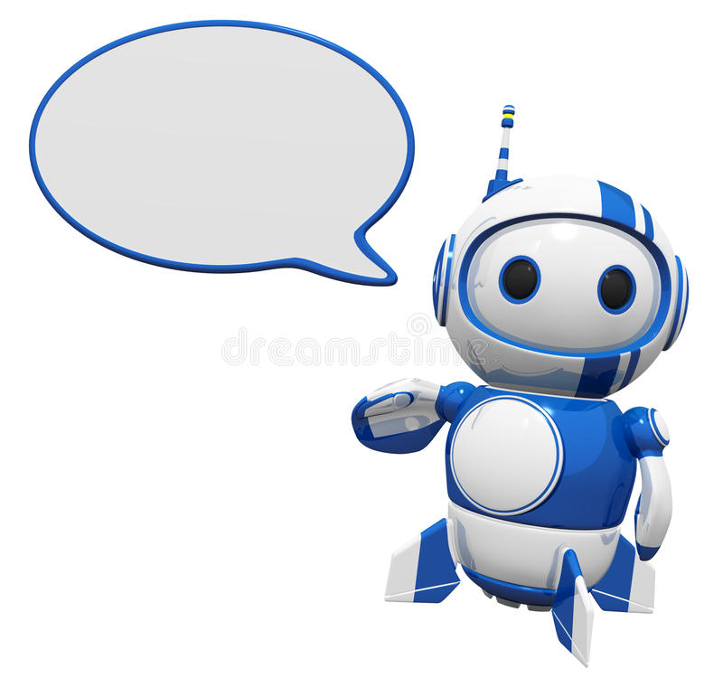 Download 3d Cute Blue Robot With Word Bubble Royalty Free Stock Image - Image: 21903166