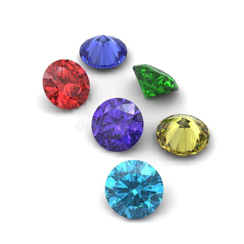 3d czarny rżniętych diamentowych klejnotów odosobniona perspektywa royalty ilustracja