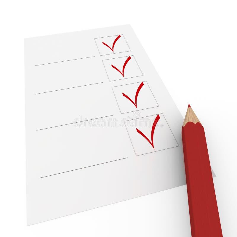3d czek ołówka czerwień ilustracja wektor