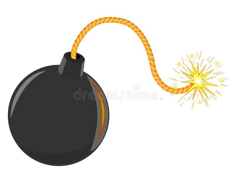 3d czerń bomby kreskówka odizolowywający wektor royalty ilustracja