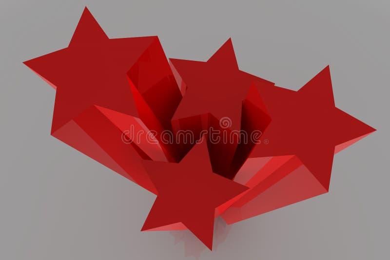 3d czerwieni gwiazdy ilustracja wektor