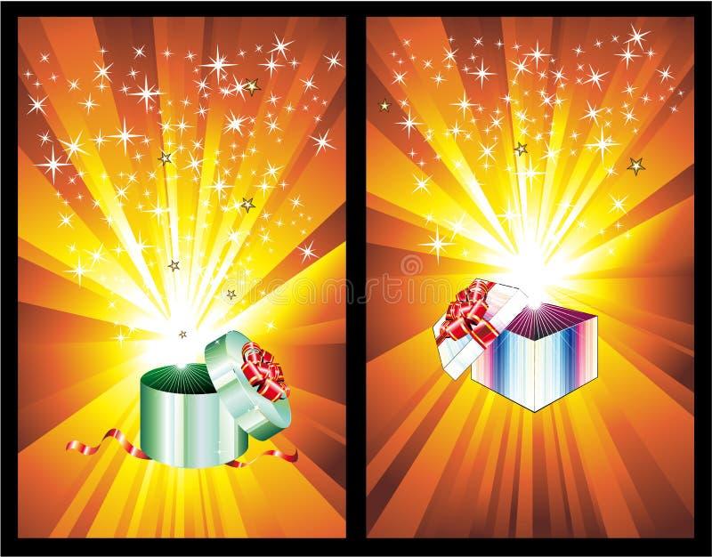 3D a décoré le cadre de cadeau avec des lumières de rayon illustration de vecteur