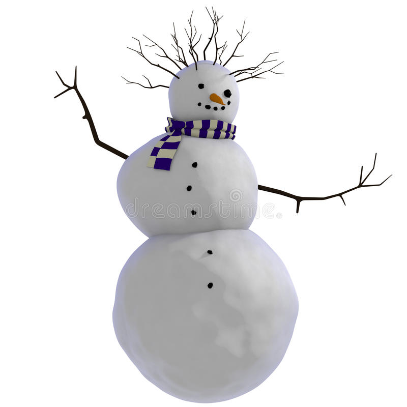 Free 3D Dancing Snowman With Purple And White Striped Scarf And Twigs For Afro Haircut Royalty Free Stock Photo - 29670605