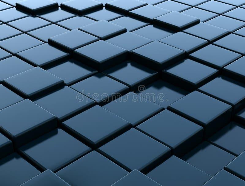 3D dark metallic blue cubes royalty free stock photography