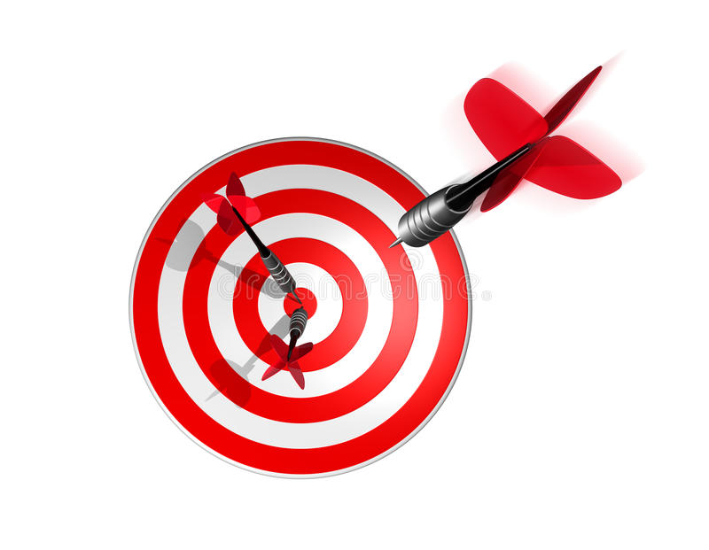 3D dart right on the target center stock illustration
